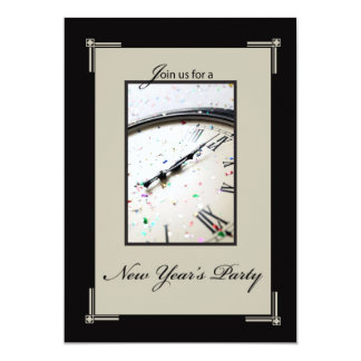 Sophisticated New Year's Eve Party, Black and Tan Card