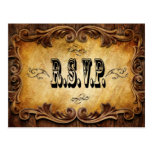 Sophisticated OldWest Cowboy Wedding RSVP card Postcard