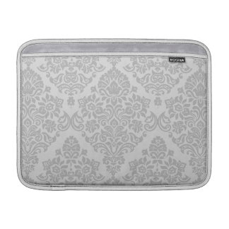 Sophisticated Ornate Silver Damask Pattern Sleeve For MacBook Air