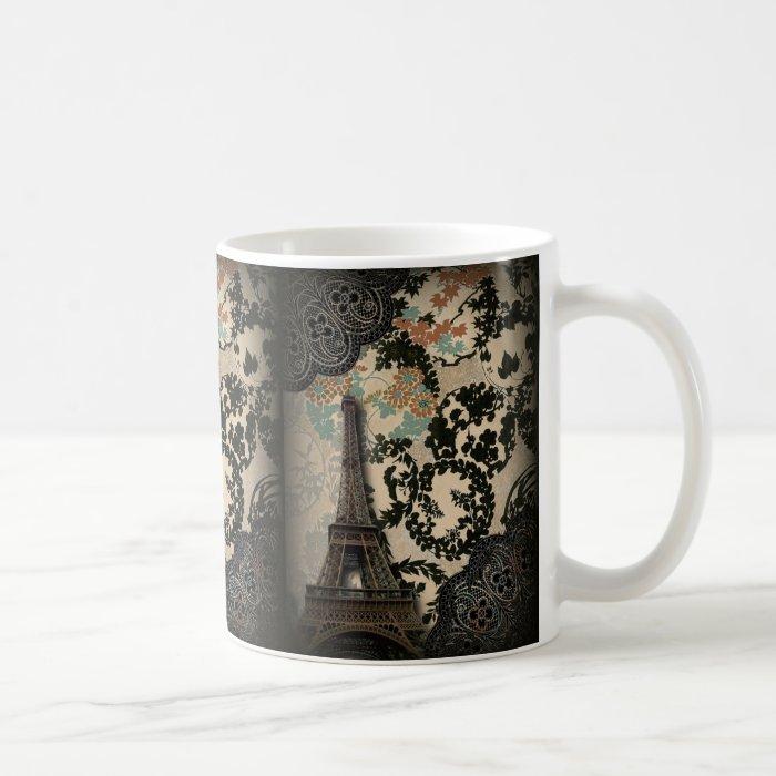 Sophisticated Paris Eiffel Tower Lace damask Coffee Mug
