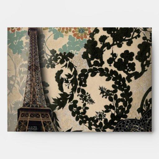 Sophisticated Paris Eiffel Tower Lace damask Envelopes