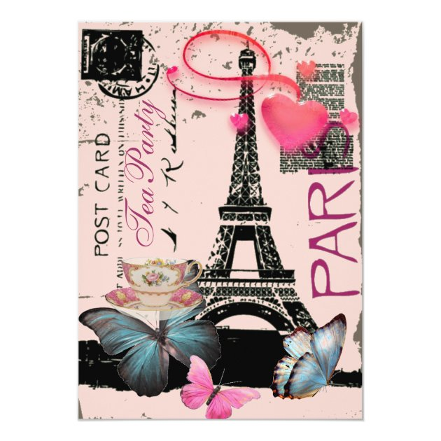 Personalized Eiffel tower Invitations CustomInvitations4Ucom