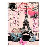 Sophisticated Paris eiffel tower vintage tea party Cards