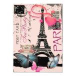 "Sophisticated Paris eiffel tower vintage tea party 5"" X 7"" Invitation Card"