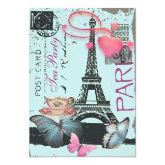 Sophisticated Paris eiffel tower vintage tea party Invite