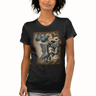 Sophisticated Paris lace shoe butterfly T-shirt