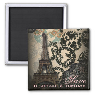 Sophisticated Paris Lace vintage save the date 2 Inch Square Magnet