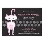 "Sophisticated Pink Kitty Birthday Invitation 5"" X 7"" Invitation Card"
