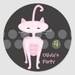 Sophisticated Pink Kitty Favor Sticker