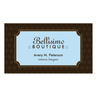 Sophisticated Polka dot Business Card (brown/blue)
