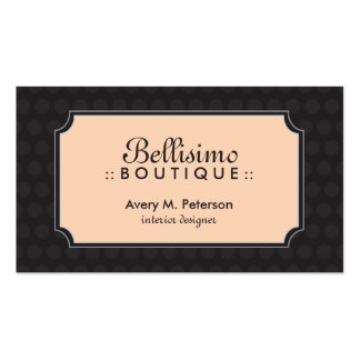 Sophisticated Polkadot Business Card (black/peach)
