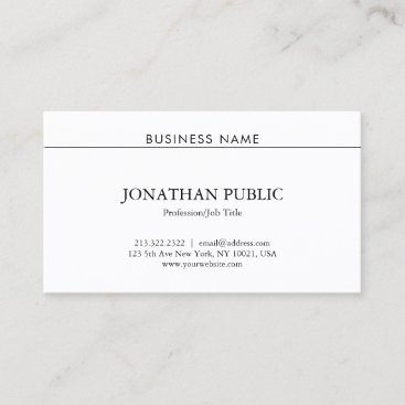 Sophisticated Professional Modern Trendy Plain Business Card