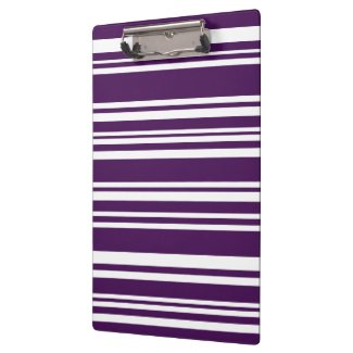 Sophisticated Purple and White Stripes Clipboard