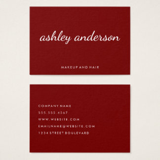 Sophisticated Red Cursive Text Business Card