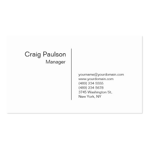 Sophisticated Refined White Manager Business Card