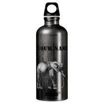 Sophisticated Safari, Giraffe, Elephant and Zebra Aluminum Water Bottle