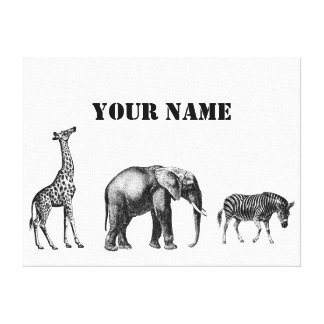 Sophisticated Safari Giraffe Elephant and Zebra Stretched Canvas Prints