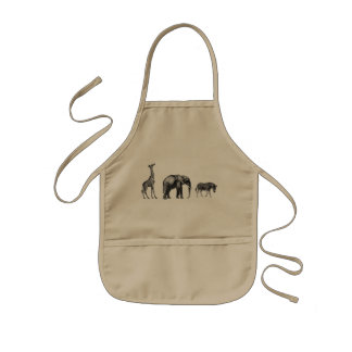 Sophisticated Safari, Giraffe, Elephant and Zebra Kids' Apron