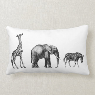 Sophisticated Safari, Giraffe, Elephant, Zebra Pillow