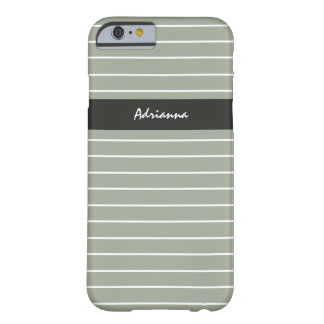 Sophisticated Sage Green Thin Stripes Chic Name Barely There iPhone 6 Case