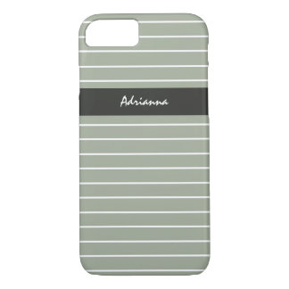 Sophisticated Sage Green Thin Stripes Chic Name iPhone 8/7 Case