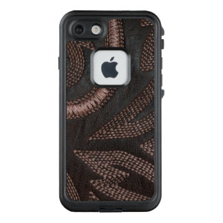 Sophisticated Sewn Brown Leather Pattern LifeProof FRĒ iPhone 7 Case