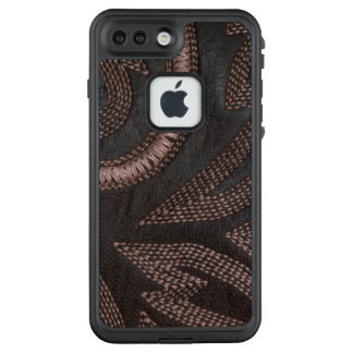 Sophisticated Sewn Brown Leather Pattern LifeProof FRĒ iPhone 7 Plus Case