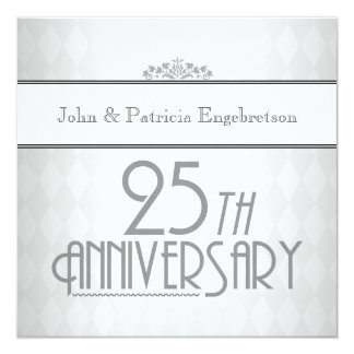 Sophisticated Silver 25th Wedding Anniversary Card