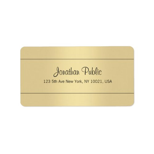 Sophisticated Simple Template Gold Look  Address Label