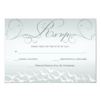 Sophisticated Slate Blue Wedding RSVP Card Invites