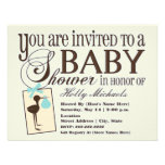 Sophisticated Stork Blue Baby Shower Invitation