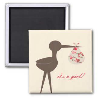 Sophisticated Stork Cherry Blossom Baby Shower 2 Inch Square Magnet