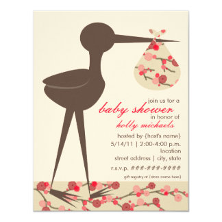 Sophisticated Stork Cherry Blossom Baby Shower Card