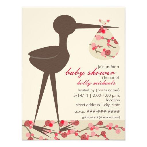 Personalized cherry blossom baby shower invitations sophisticated stork cherry blossom baby shower invitation filmwisefo