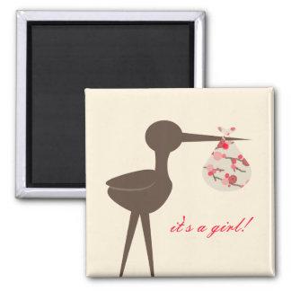 Sophisticated Stork Cherry Blossom Baby Shower Magnet
