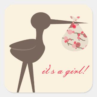 Sophisticated Stork Cherry Blossom Baby Shower Square Sticker