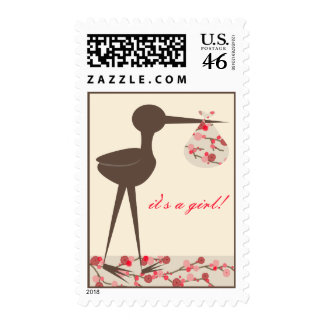 Sophisticated Stork Cherry Blossom It's A Girl Postage Stamps