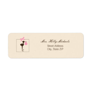 Sophisticated Stork Pink & Brown Baby Shower Label