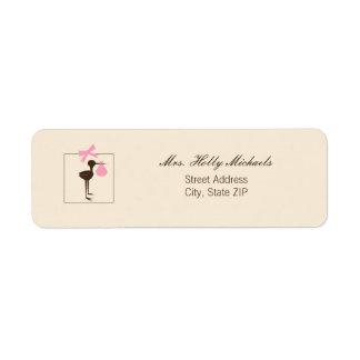 Sophisticated Stork Pink & Brown Baby Shower Custom Return Address Label