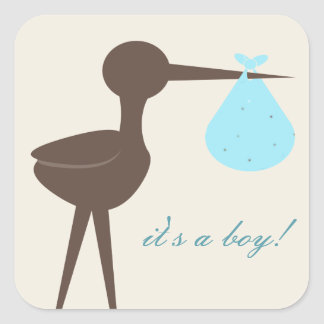 Sophisticated Stork Robin's Egg Blue It's A Boy Square Sticker