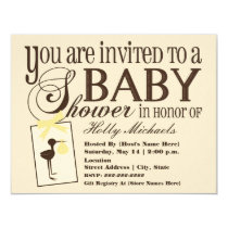 "Sophisticated Stork Yellow Baby Shower Invitation 4.25"" X 5.5"" Invitation Card"