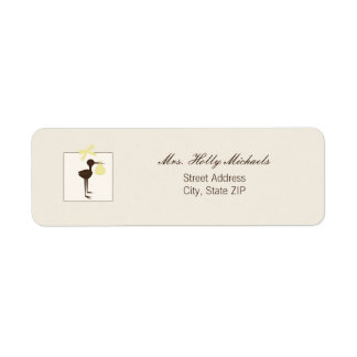 Sophisticated Stork Yellow & Brown Baby Shower Label