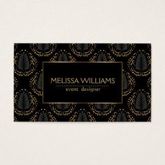 Sophisticated Stylized Modern Damasks Black & Gold Business Card