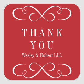 Sophisticated swirls holiday red thank you label square sticker