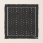 "Sophisticated Swiss Dots Square Chiffon Scarf<br><div class=""desc"">Personalized with your name monogram.  Small white dots on black background.  Very sophisticated polka dot pattern  Designed for the three square options on scarves.  Graphic Design by Claudine Boerner.</div>"