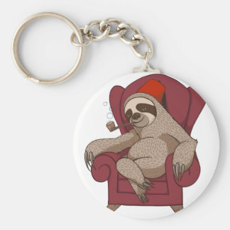 Sophisticated Three Toed Sloth Basic Round Button Keychain