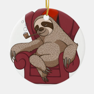 Sophisticated Three Toed Sloth Ceramic Ornament