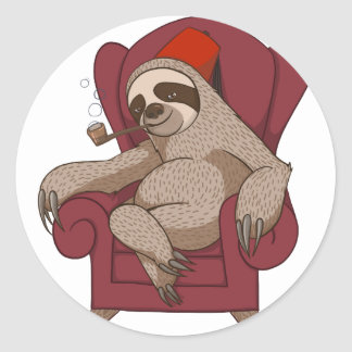 Sophisticated Three Toed Sloth Classic Round Sticker