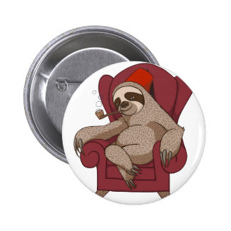 Sophisticated Three Toed Sloth Pinback Button