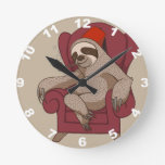 Sophisticated Three Toed Sloth Round Clock